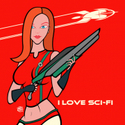 I Love Sci-Fi Red Pillow