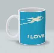 I Love Sci-Fi Blue Mug 11 oz