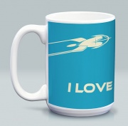 I Love Sci-Fi Blue Mug 15 oz